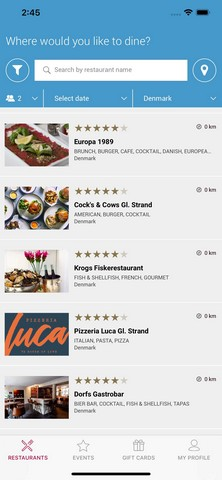 DinnerBooking mobile app